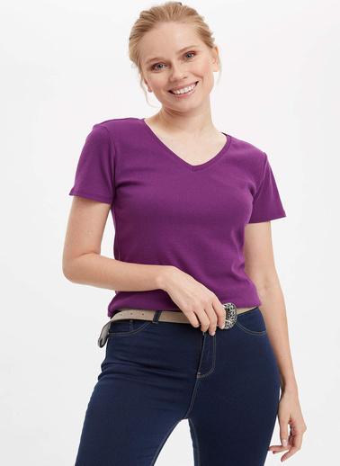 DeFacto V Yaka Basic Kısa Kollu T-Shirt Mor